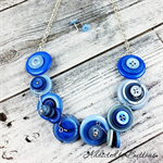 Button Fusion - Ocean of Blue Button Necklace - Button Jewellery - Earrings