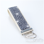 Grey with White Flowers Key Fobs