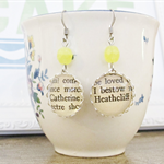 Wuthering Heights Earrings Vintage Text Sunshine Yellow Emily Bronte
