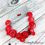 Button Fusion - Red Red Red Button Necklace - Button Jewellery - Earrings