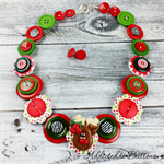 Rudolph - Red Green White - Button Necklace and Earrings