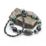 Labradorite and Amazonite Gunmetal Beaded Bracelet