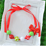 Christmas Bead Necklace in Red & Green Spots
