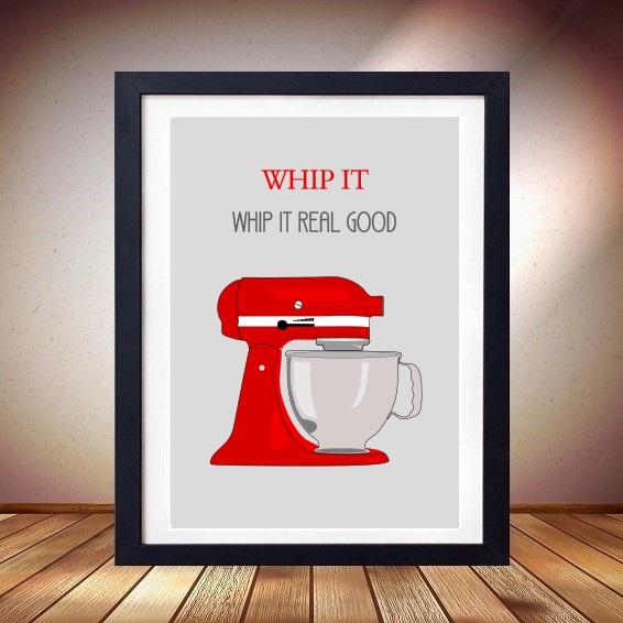 Whip It Good Red Poster Print Cute Kitchen Art Mixmaster Kitchenaid