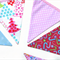 Christmas Bunting  - Pink / Blue / White Flags. Xmas Decoration. Pretty!