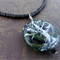 Ghost Tree - hand painted focal bead; black heishi bead, chain necklace