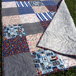 baby/toddler quilt/blanket - blue, grey, red, bicycles, cameras, alphabet, retro