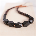 OMBRE Wooden Geometric Bead Necklace - Black to brown with Rose Gold