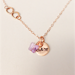 Personalised necklace, rose gold with Swarovski crystal butterfly