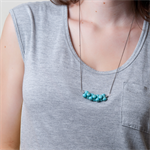 ELOISE Gemstone Bar Necklace -Turquoise and Gunmetal Plated Chain