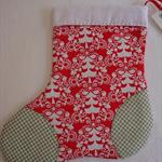 Christmas Stocking - Michael Miller Funky Christmas Red Folkart Trees Yardage