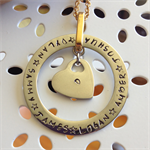 'Janus' Gorgeous hand-stamped washer and heart pendant.