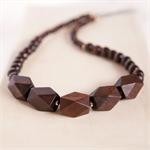 DARK BROWN Wooden Geometric Bead Necklace - Dark Brown with Gold accents