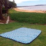 Picnic Rug, Beach Blanket Modern Chevron Zig Zag Teal/White, OrangeWhite...