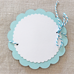 Set of 3 Aqua Gift Tags Scalloped Flower and Matching Bakers Twine for Wrapping