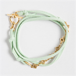MERCY Triple Wrap Bracelet - Mint Faux Suede with Gold Plated Chain and toggle