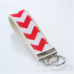 Red and White Key Fob Chevron Pattern