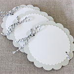 Set of 3 Grey Gift Tags Scalloped Flower and Matching Bakers Twine for Wrapping