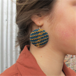 Knit Earrings - Turquoise / Mustard Wool
