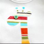 baby giraffe   applique onesie   boy retro stripes