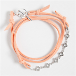 MERCY Triple Wrap Bracelet -Peach Faux Suede with Silver Plated Chain and toggle