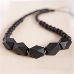 BLACK Wooden Geometric Bead Necklace - Black with Gold accents