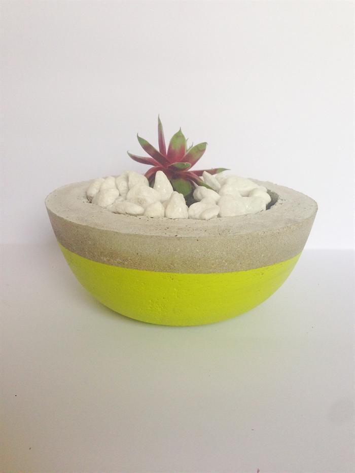 Concrete cement plant pot handmade homewares decor lime for Homewares decorative items