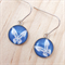 Blue and White Butterfly Earrings Slim - Sterling Silver and Resin
