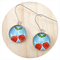 Blue and Red Cherry Earrings - Sterling Silver and Resin