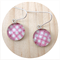 Pink and White Polka Dot Earrings - Sterling Silver and Resin