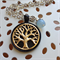 'Naiad' Gold Tree of Life inset black bezel, moon stone bead pendant.