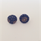 Buy 2 get 1 FREE Fabric Button Stud Earring Multi Coloured Navy Daisy