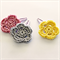 flower trio   crochet hairclips   mixed set   pink grey yellow   clips