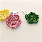 flower trio | crochet hairclips | mixed set | spring | green pink yellow | clips