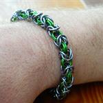 Men's anodized aluminum chainmaille bracelet