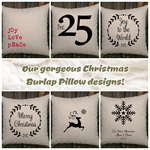 Gorgeous burlap inspired christmas pillows. You choose the design and colours.