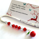 apple for the teacher bookmark, red .