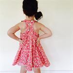 Rosey Pink Pom Pom Racer Back Flare Dress (Size 6,7,8 or 10)