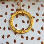 'Portia' Free flowing Handstamped extra thick Gold washer with Love Song Quote