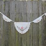 Boho Vintage Cross Stitch Linen Bunting. Home or Wedding Décor. Nursery Décor.