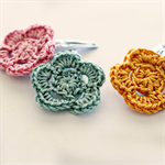 flower trio | crochet hairclips | mixed set | teal orange pink | clips