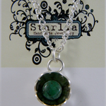 Sterling silver flower & turquoise pendant & chain