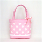 Mini Tote Bag for Little Girls - Pastel Pink Spot