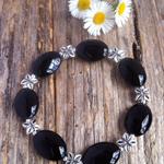 Black Onyx Gemstone & Antique Silver Tibetan Bead Bracelet