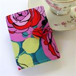 Tea Bag Wallet - Purple & Red Rose Garden with apple green dot stripes
