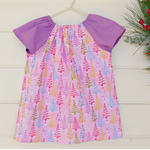 Size 9-12monts girls Christmas tree patterned peasant dress