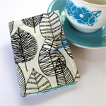Tea Bag Wallet - Black line leaves on white with baby blue cross hatch.