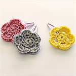 flower trio | crochet hairclips | mixed set | pink grey yellow | clips