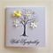 Silhouette tree with yellow bird & white paper flowers sympathy card