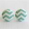 Buy 3 Get 1 Free! Green Chevron Fabric Button Stud Earrings
